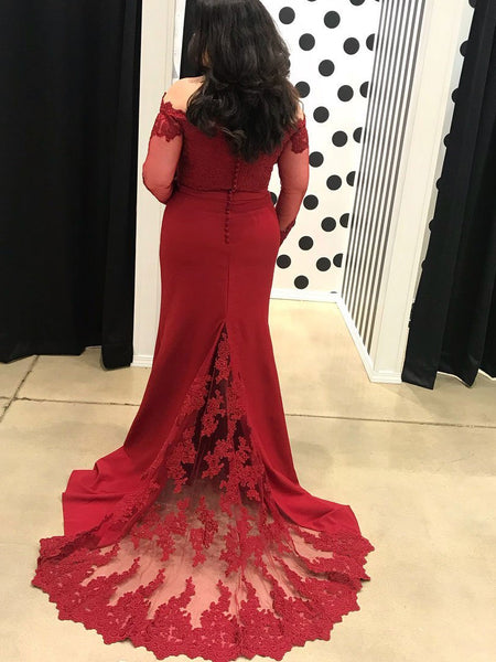BohoProm prom dresses Mermaid Off-Shoulder Sweep Train Chiffon Appliqued Prom Dress 3104