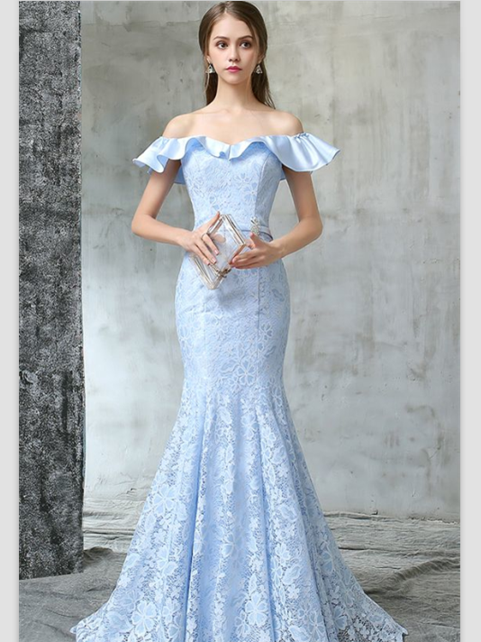 BohoProm prom dresses Mermaid Off-Shoulder Sweep Train Lace Sky Blue Prom Dresses ASD26815