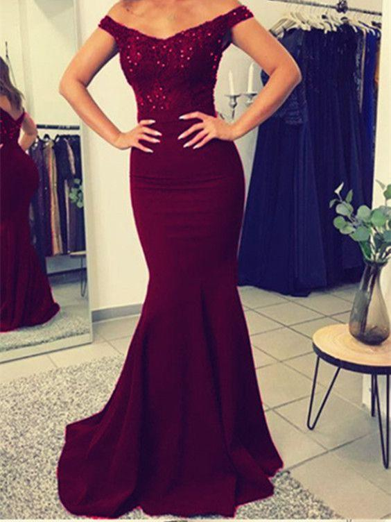BohoProm prom dresses Mermaid Off-Shoulder Sweep Train Satin Burgundy Prom Dresses HX00109