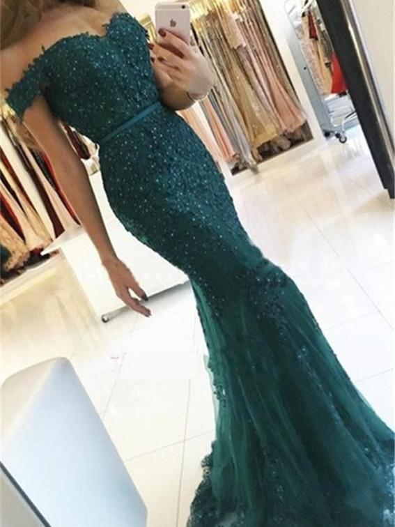 99ad0a3583 BohoProm prom dresses Mermaid Off-Shoulder Sweep Train Tulle Appliqued  Beaded Prom Dresses ASD2689