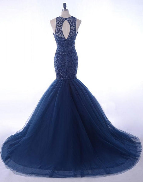 BohoProm prom dresses Mermaid Scoop-Neck Chapel Train Tulle Royal Blue Prom Dresses With Sequins ASD27099