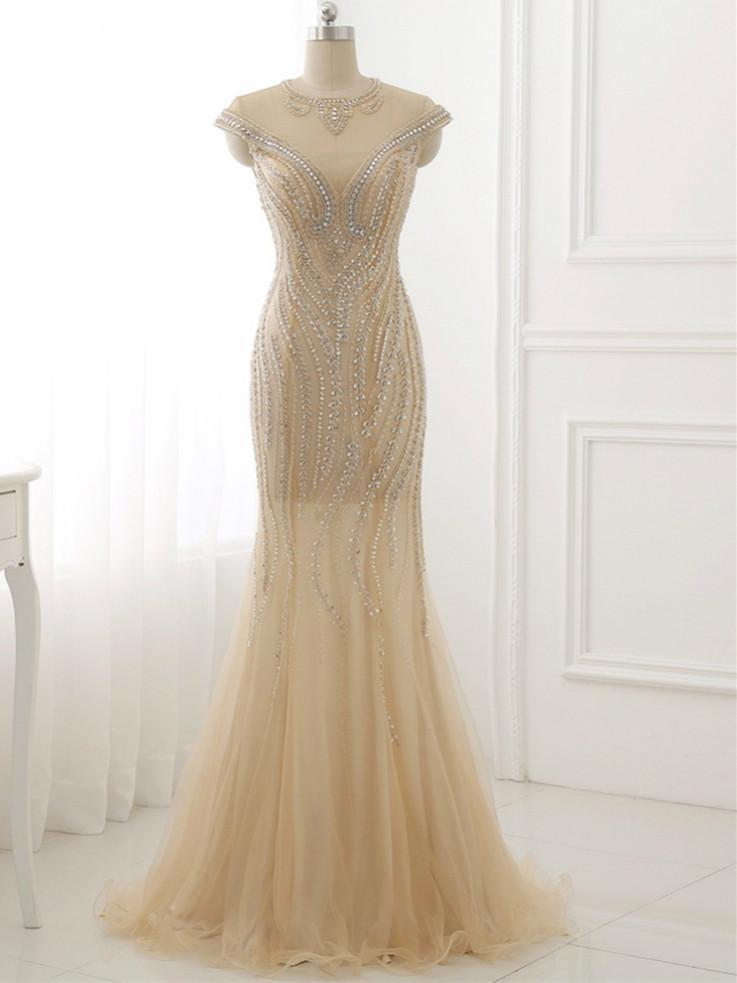 BohoProm prom dresses Mermaid Scoop-neck Floor-Length Tulle Rhine Stone  Prom Dresses ASD27087