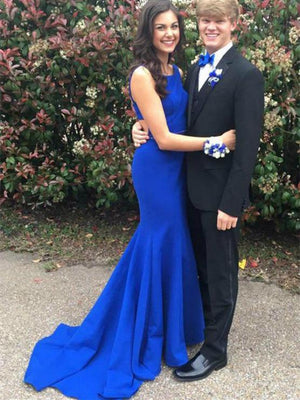 BohoProm prom dresses Mermaid Scoop-Neck Sweep Train Satin Royal Blue Sexy Prom Dresses HX0095