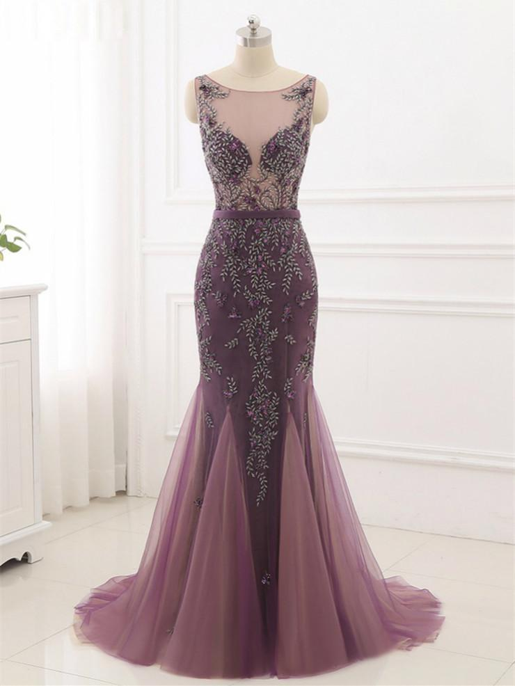 BohoProm prom dresses Mermaid Scoop-Neck Sweep Train Tulle Dusty Rose Prom Dresses With Rhine Stones ASD27097
