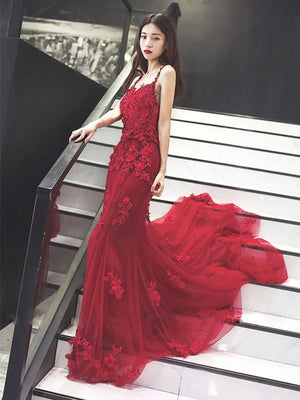 BohoProm prom dresses Mermaid Spaghetti Strap Chapel Train Tulle Appliqued Long Prom Dresses HX0056