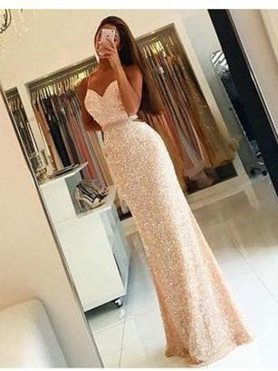 BohoProm prom dresses Mermaid Spaghetti Strap Floor-Length Sequined Sexy Prom Dresses  HX0063