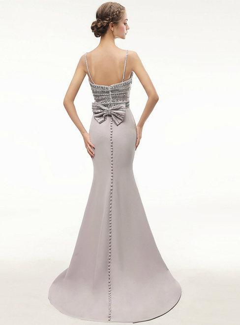 BohoProm prom dresses Mermaid Spaghetti Strap Sweep Train Satin Prom Dresses With Rhine Stones HX0075