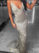 BohoProm prom dresses Mermaid Spaghetti Strap Sweep Train Sequin Silver Prom Dresses ASD26792