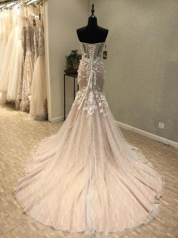 BohoProm prom dresses Mermaid Sweetheart Chapel Train Tulle Appliqued Long Prom Dresses ASD26931