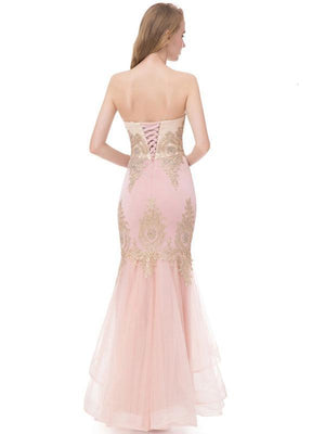 BohoProm prom dresses Mermaid Sweetheart Floor-Length Organza Rhine Stone Prom Dress 3119