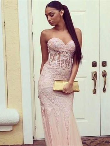 BohoProm prom dresses Mermaid Sweetheart Sweep Train Lace Pink Prom Dresses With Beading HX0092