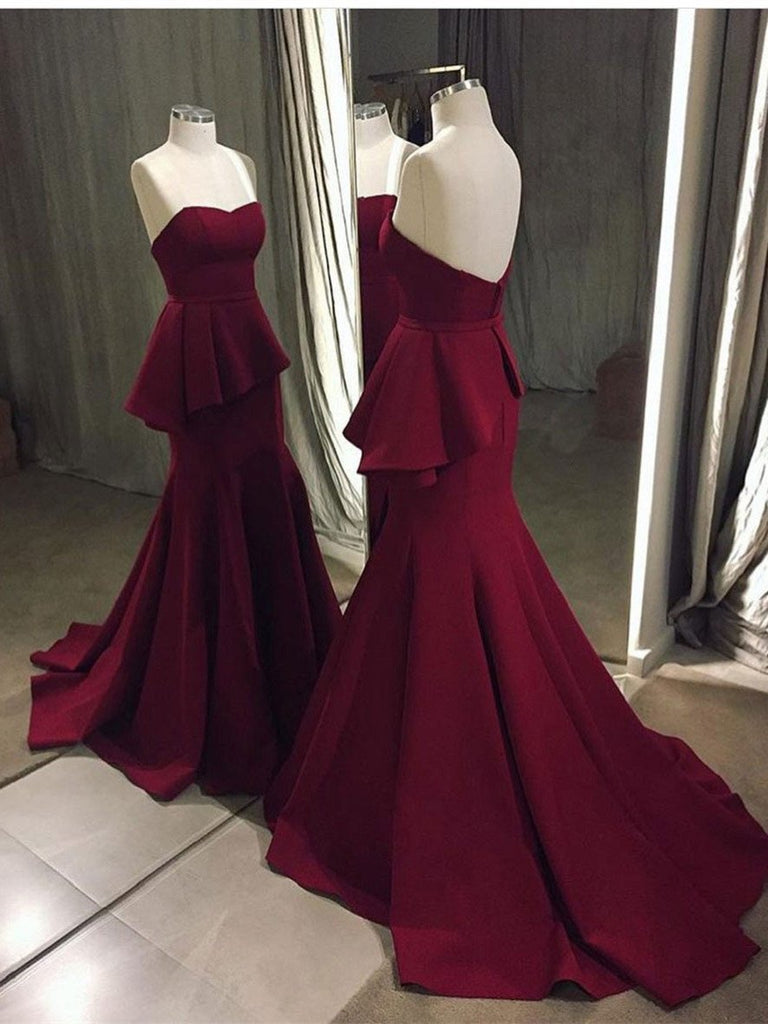 BohoProm prom dresses Mermaid Sweetheart Sweep Train Satin Simple Burgundy Prom Dresses APD2616