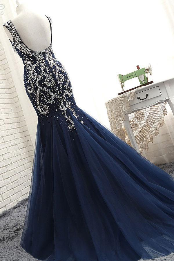 BohoProm prom dresses Mermaid Sweetheart Sweep Train Tulle Long Prom Dresses HX0033