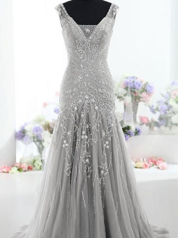 BohoProm prom dresses Mermaid V-neck Floor-Length Tulle Gray Prom Dresses With Beading HX00135