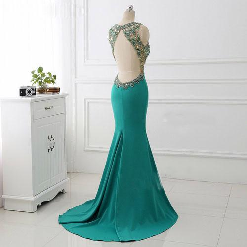 BohoProm prom dresses Mermaid V-neck Sweep Train Satin Rhine Stone Prom Dresses ASD27085