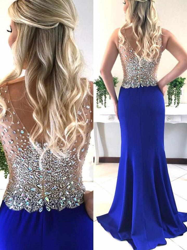 BohoProm prom dresses Mermaid V-neck Sweep Train Satin Sequined Royal Blue Prom Dress 3068