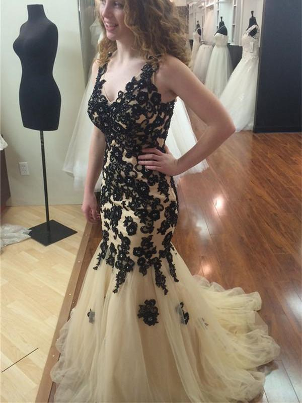 BohoProm prom dresses Mermaid V-Neck Sweep Train Tulle Appliqued Sexy Prom Dresses HX00143