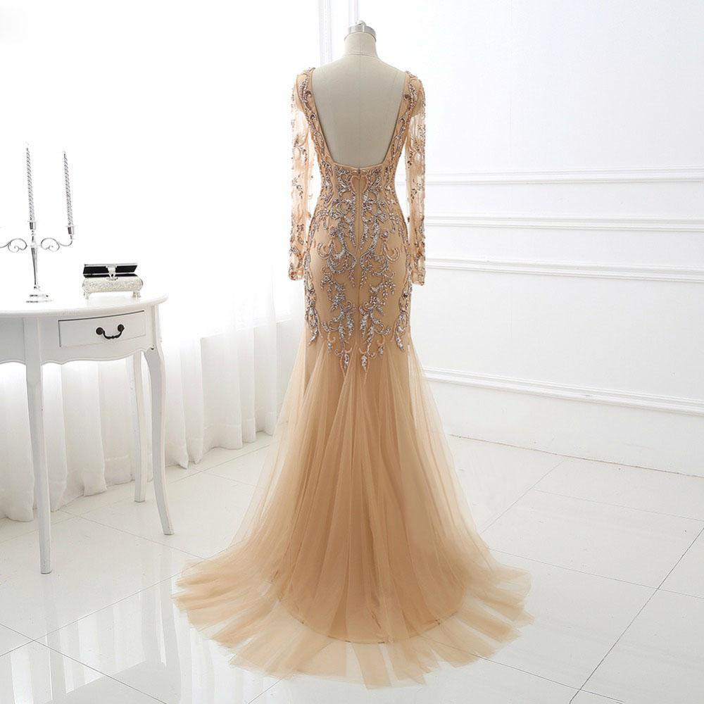 BohoProm prom dresses Mermaid V-neck Sweep Train Tulle Rhine Stone Prom Dresses With Sequins ASD27086