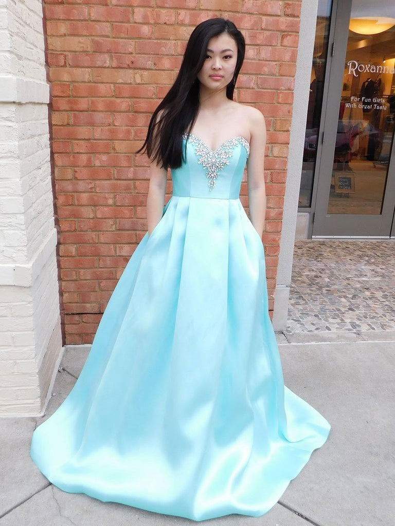 BohoProm prom dresses Modern Satin Sweetheart Neckline Chapel Train A-line Prom Dresses With Rhinestones PD008