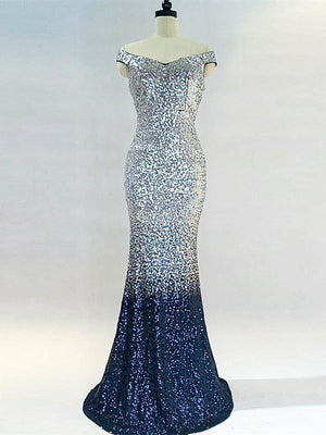 BohoProm prom dresses Modern Sequin Lace Scoop Neckline Floor-length Mermaid Prom Dress PD210