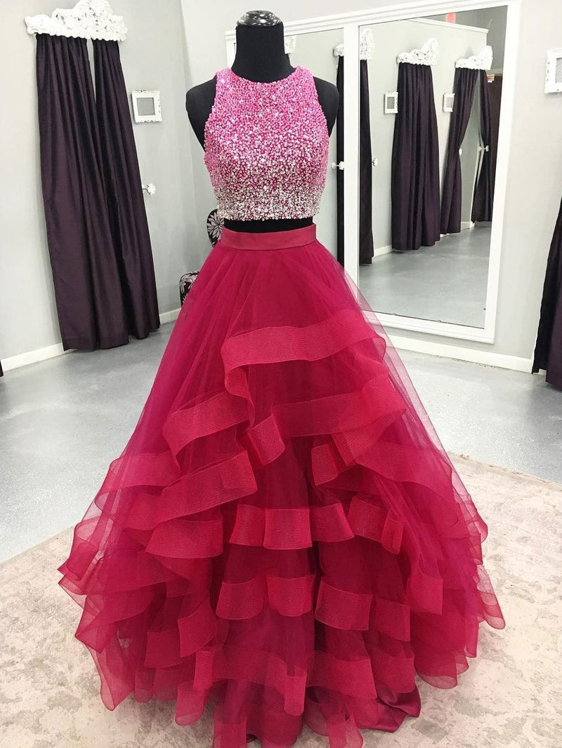 BohoProm prom dresses Modern Tulle Jewel Neckline 2 Pieces A-line Prom Dresses With Rhinestones PD058