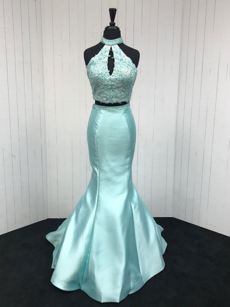 BohoProm prom dresses Modest Satin High-neck Sweep Train 2 Pieces Mermaid Prom Dresses With Beaded Appliques PD057