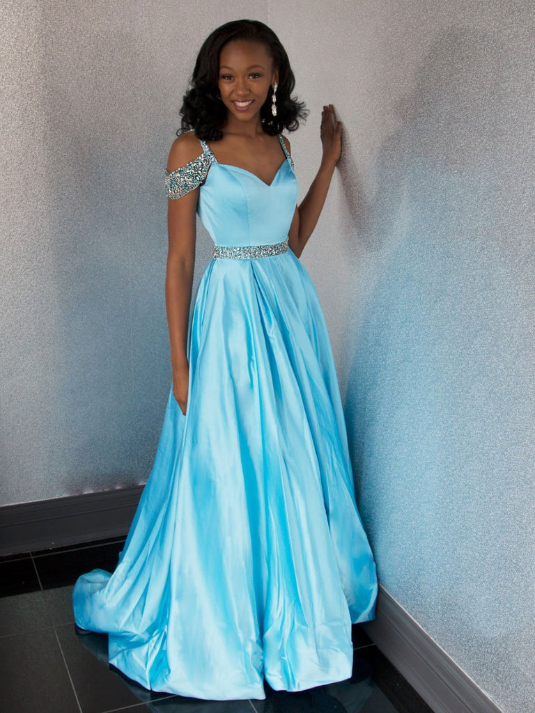 BohoProm prom dresses Modest Satin Spaghetti Straps Neckline Chapel Train A-line Prom Dresses With Beadings PD007