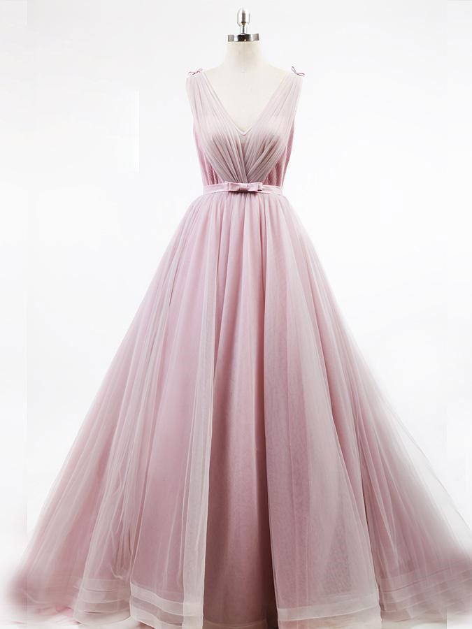 BohoProm prom dresses Modest Tulle V-neck Neckline Ball Gown Chapel Train Prom Dresses With Bowknot PD189