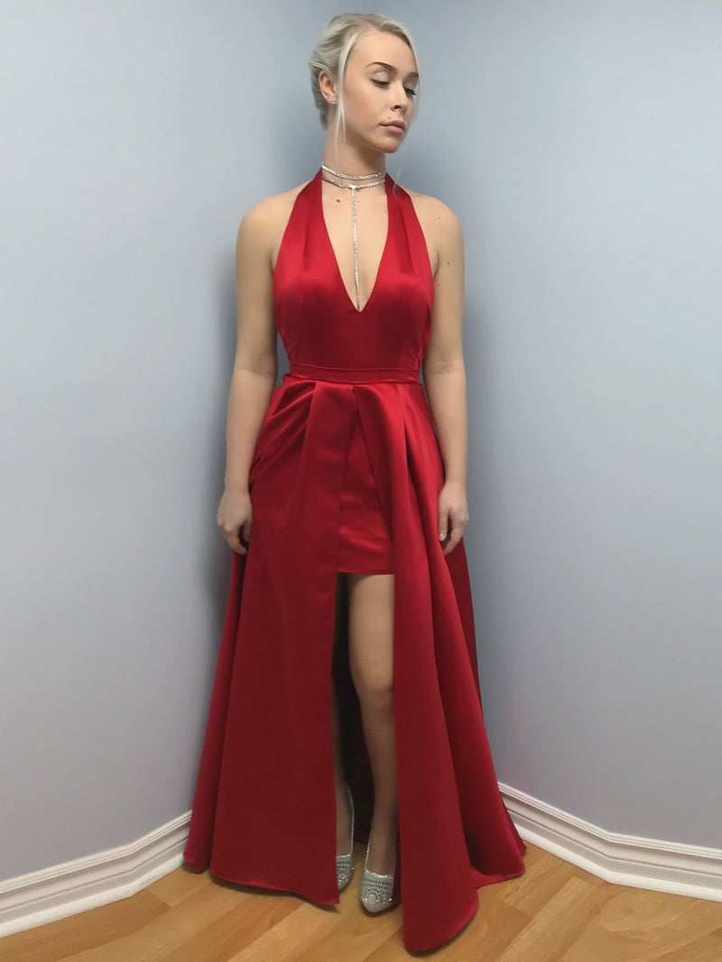BohoProm prom dresses Outstanding Satin Halter Neckline Sweep Train A-line Prom Dress PD075