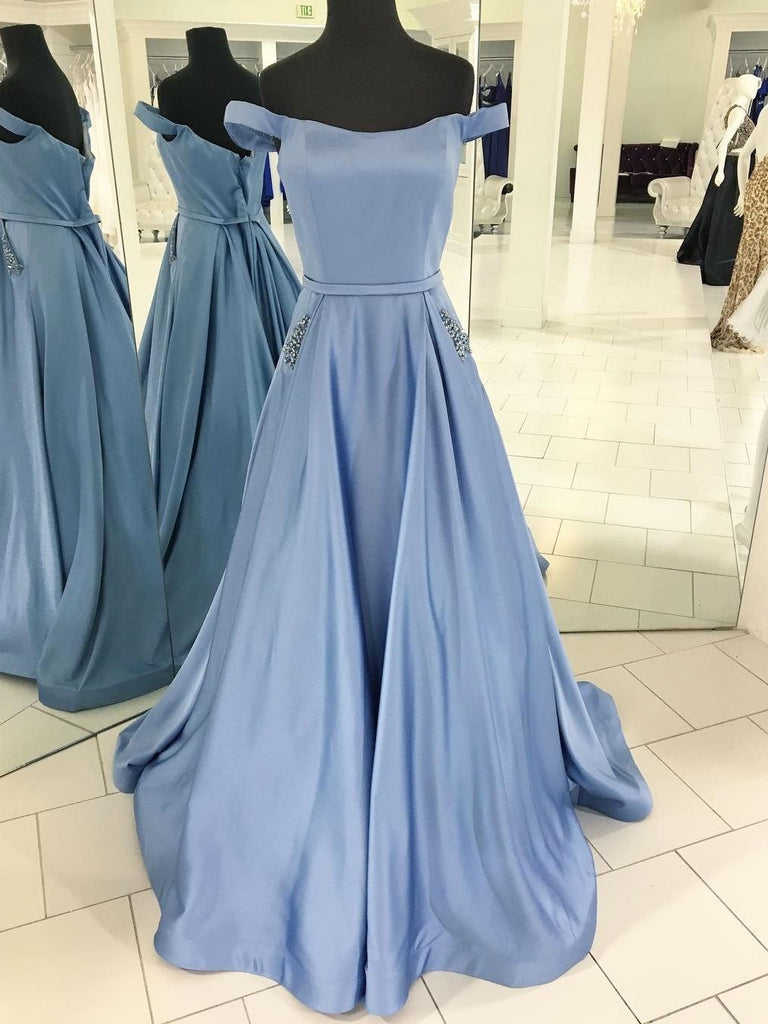 BohoProm prom dresses Outstanding Satin Off-the-shoulder Neckline Sweep Train A-line Prom Dresses With Rhinestones PD017