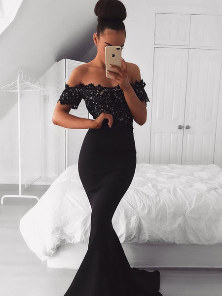 BohoProm prom dresses Popular Acetate Satin Off-the-shoulder Neckline Sheath Prom Dresses With Appliques PD161