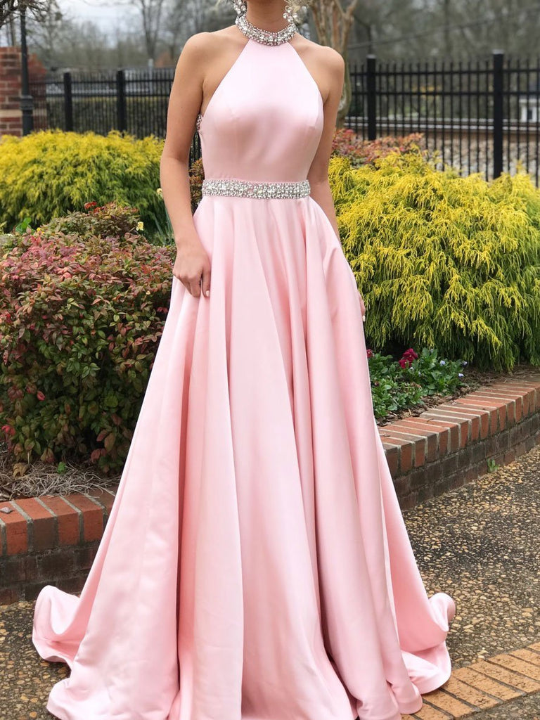 BohoProm prom dresses Popular Satin Jewel Neckline Backless Sweep Train A-line Prom Dresses With Rhinestones PD048