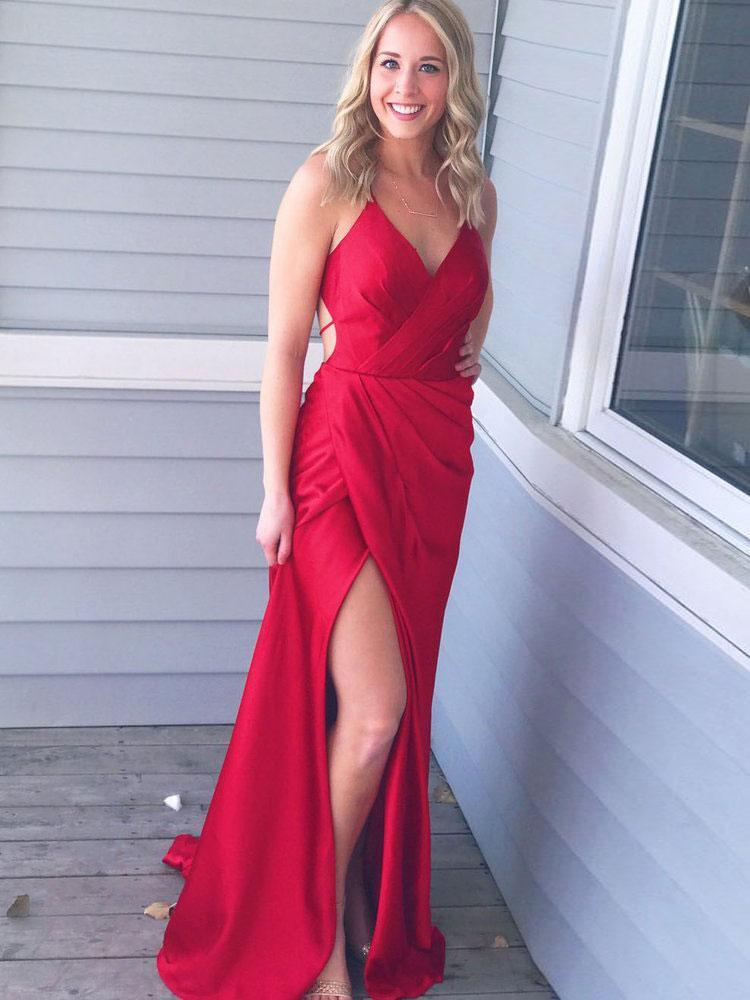 BohoProm prom dresses Popular Satin Spaghetti Straps Neckline Sweep Train Sheath Prom Dress PD040