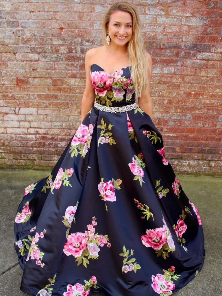 BohoProm prom dresses Popular Satin Sweetheart Neckline Ball Gown Prom Dresses With Beadings PD138