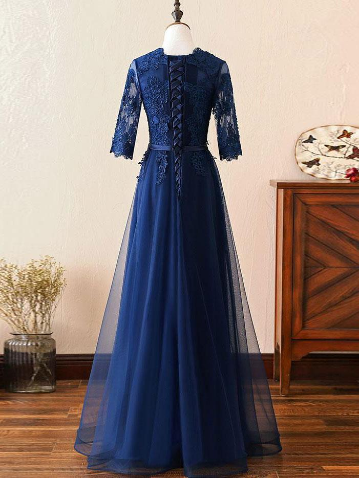 BohoProm prom dresses Popular Tulle Scoop Neckline Floor-length A-line Prom  Dresses With Beaded Appliques PD035