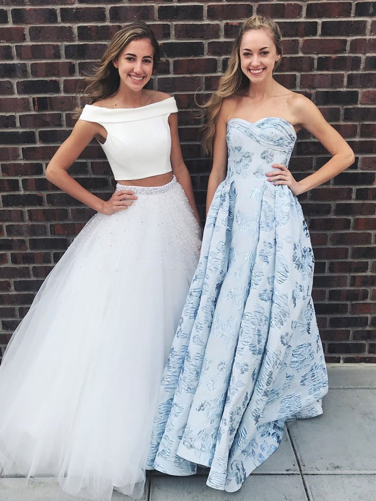 BohoProm prom dresses Pure Tulle Off-the-shoulder Neckline 2 Pieces A-line Prom Dresses With Beadings PD152