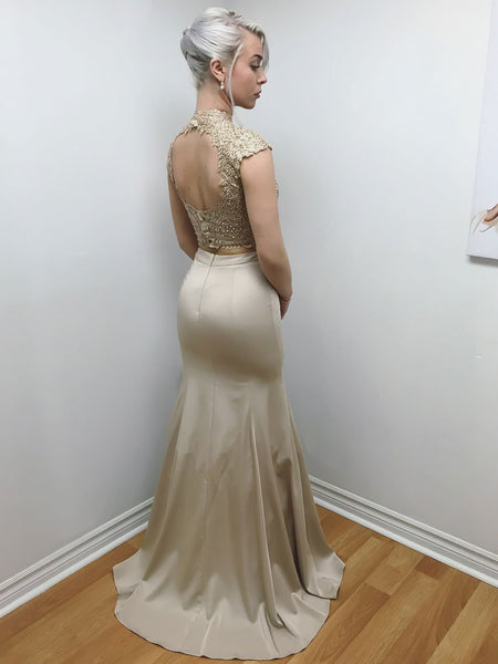 BohoProm prom dresses Romantic Satin High-neck Neckline 2 Pieces Mermaid Prom Dresses With Beaded Appliques PD082