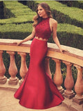 BohoProm prom dresses Sexy Satin High-neck Neckline Sweep Train 2 Pieces Mermaid Prom dresses With Appliques PD027