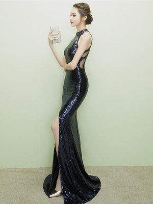 BohoProm prom dresses Sexy Sequin Lace Jewel Neckline Sweep Train Mermaid Prom Dresses With Slit PD208