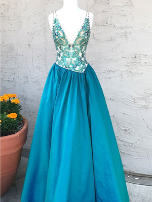BohoProm prom dresses Sexy Taffeta V-neck Neckline Floor-length A-line Prom Dresses With Beadings PD183
