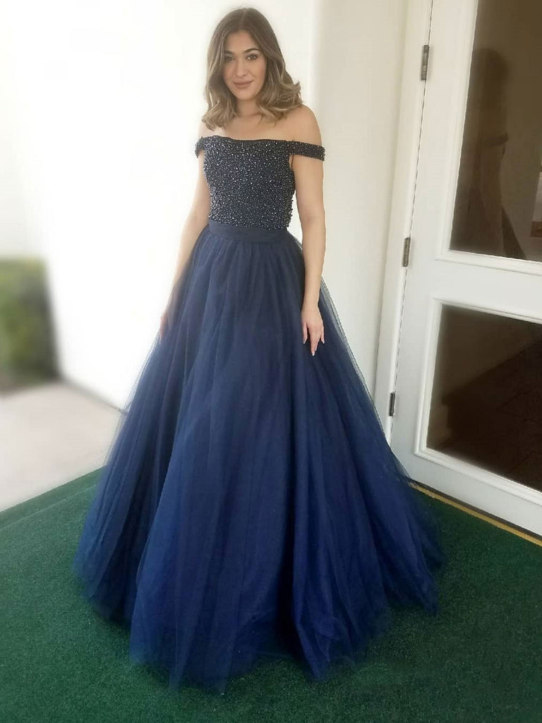 BohoProm prom dresses Sexy Tulle Off-the-shoulder Neckline Ball Gown Prom Dresses With Beadings PD147