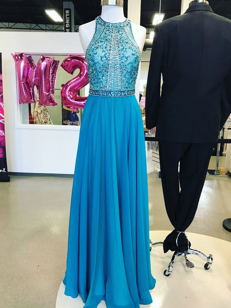 BohoProm prom dresses Shimmering Chiffon Jewel Neckline A-line Prom Dresses With Beadings PD172