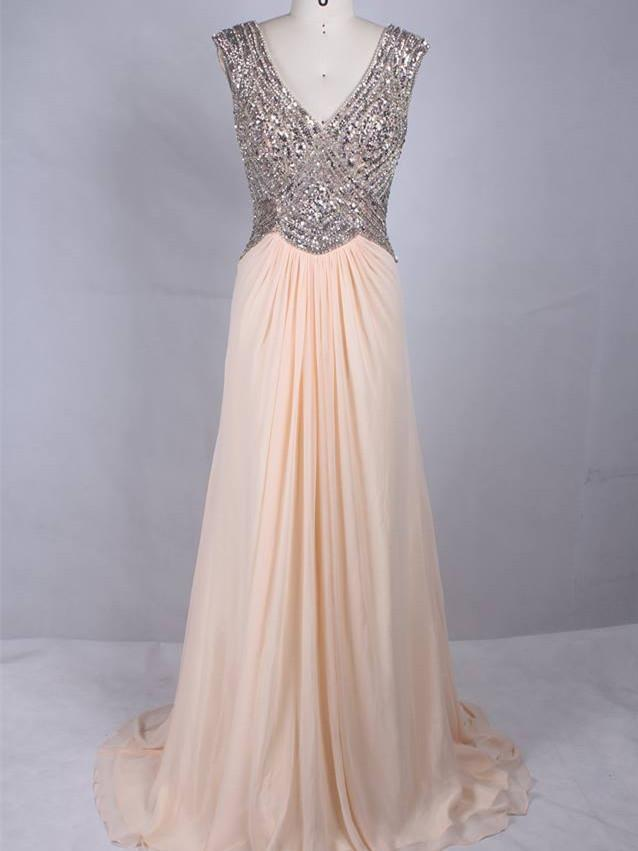 BohoProm prom dresses Shimmering Chiffon V-neck Neckline Cap Sleeves A-line Prom Dresses With Sequins PD214