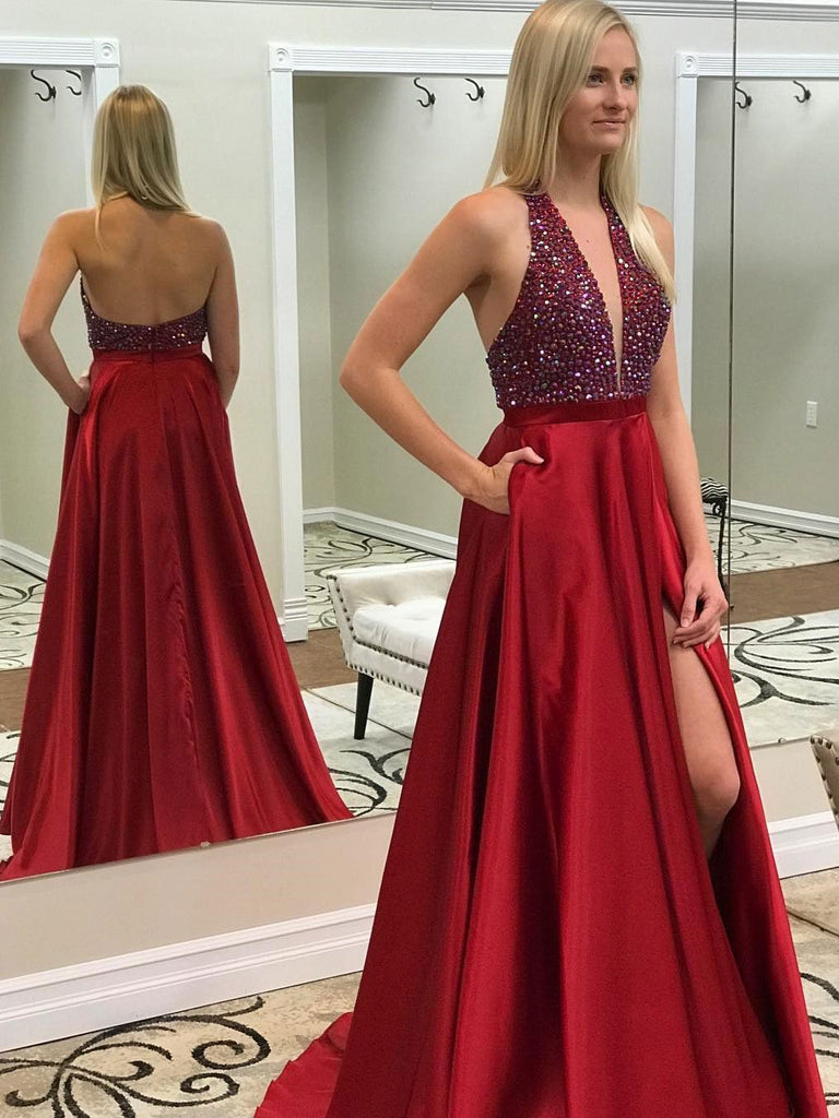 BohoProm prom dresses Shimmering Satin Halter Neckline A-line Prom Dresses With Rhinestones PD116