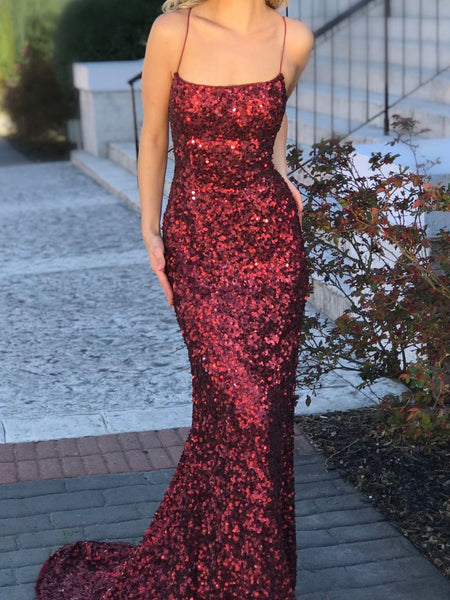 BohoProm prom dresses Shimmering Sequin Lace Spaghetti Straps Neckline Chapel Train Sheath Prom Dress PD050