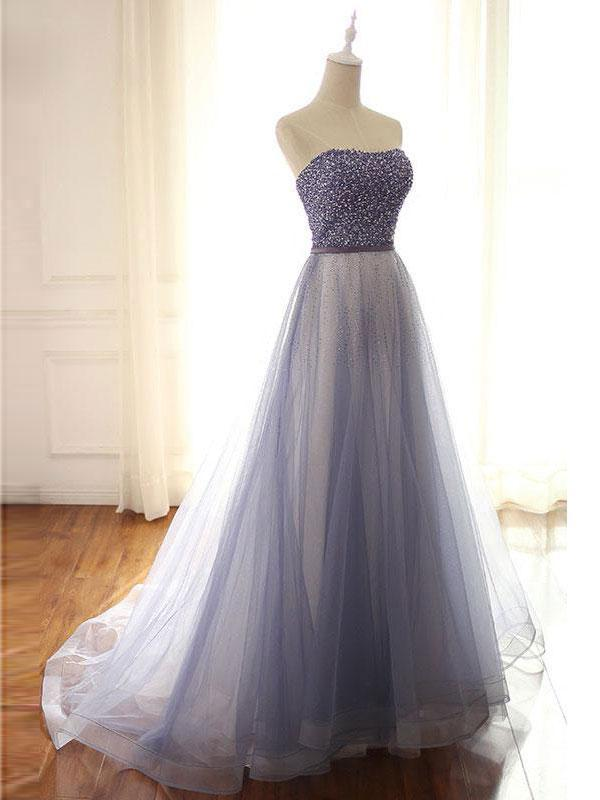 BohoProm prom dresses Shimmering Tulle Strapless Neckline Chapel Train A-line Prom Dresses With Beadings PD036