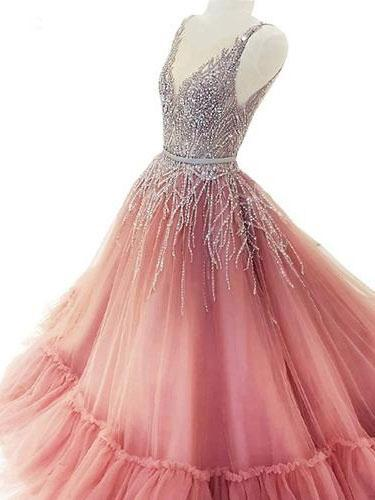 BohoProm prom dresses Shimming Tulle V-neck Neckline Ball Gown Prom Dresses With Rhinestones PD188