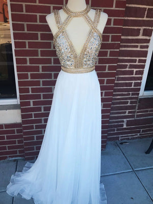 BohoProm prom dresses Shining Silk-like Chiffon Jewel Neckline A-line Prom Dresses With Rhinestones PD153