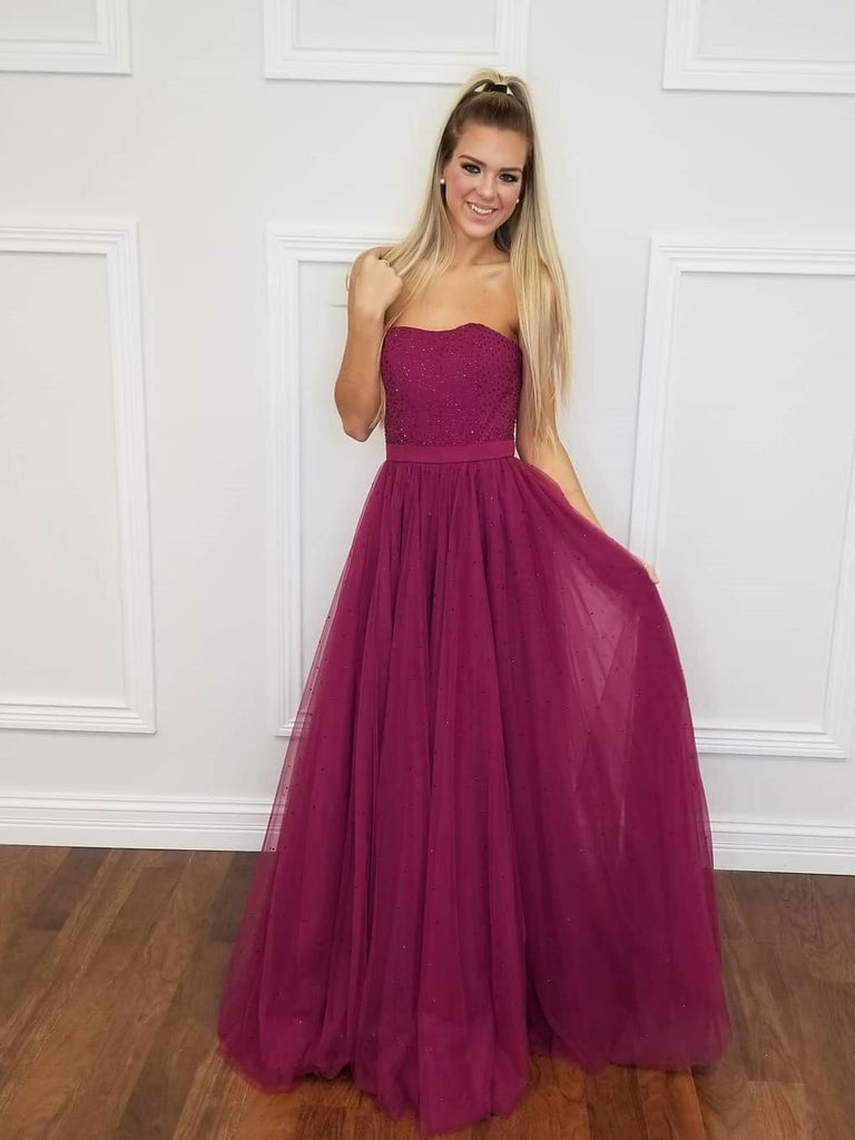 BohoProm prom dresses Shining Tulle Strapless Neckline A-line Prom Dresses With Hot Fix Rhinestones PD187