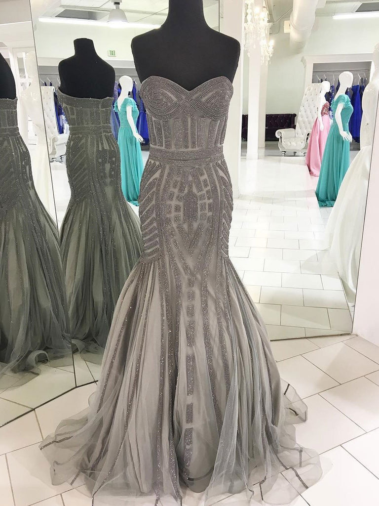 BohoProm prom dresses Shining Tulle Sweetheart Neckline Sweep Train Mermaid Prom Dresses With Beading PD003